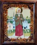"""Икона в янтаре """"Ксения Петербургская """" (15х17 см)"""