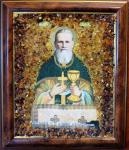"""Икона в янтаре """"Иоанн Кронштадтский"""" (15х17 см)"""