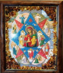 "Икона в янтаре ""Неопали́мая купина́"" (15х17 см)"