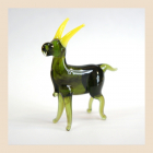 "Фигурка из стекла ""Козлик зелёный"""